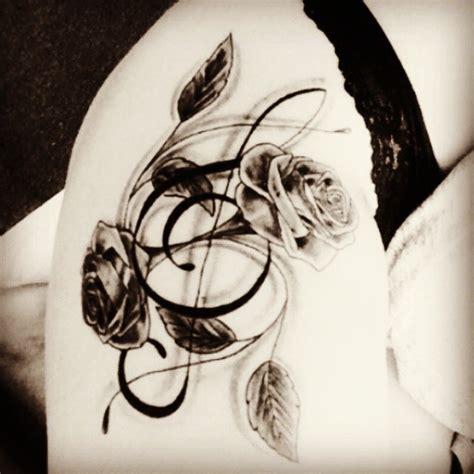 tattoo  trebleclef flower rose blackandwhite thigh