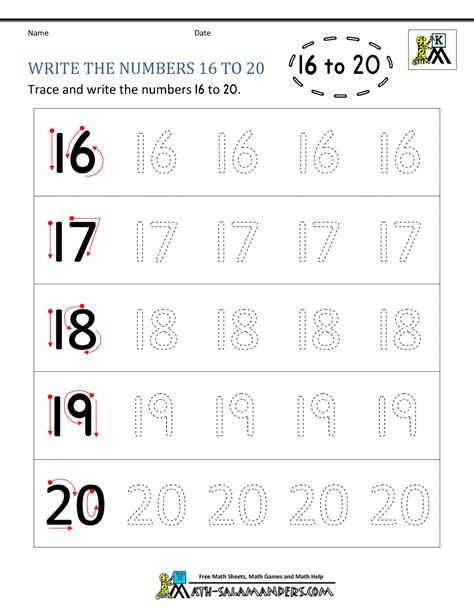 kindergarten writing worksheets numbers to 11 to 20