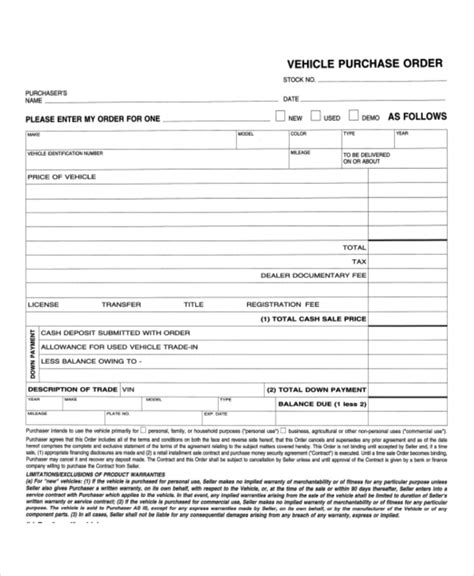 vehicle buyers order form 11 sle purchase order forms sle forms