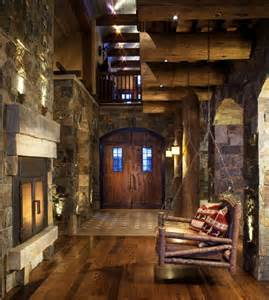 Log Cabin Kitchen Island Ideas by Stone Mountain Chalet With Elevator And Ski Room