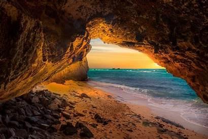 Cave Sunset Beach Caicos Turks Landscape Sea