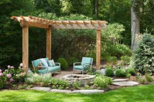 Curved Wooden Garden Bench by 42 Backyard And Patio Fire Pit Ideas