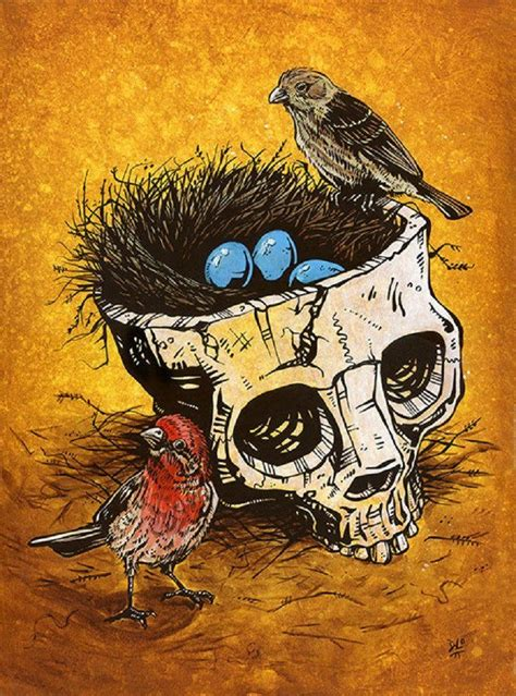 Home Sweet David Lozeau Skull Birds Nest Canvas