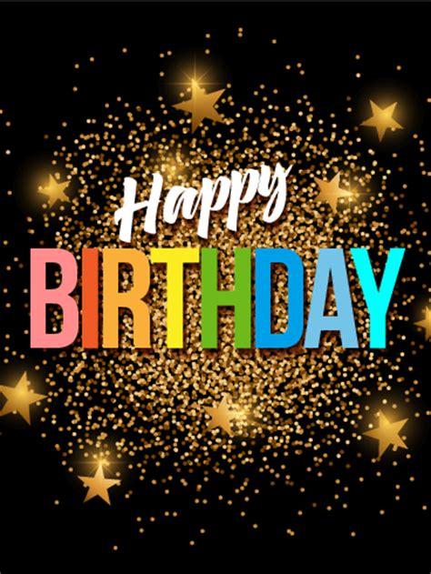 gold glitter happy birthday card birthday greeting