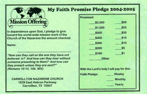 sample faith promise commitment  pledge card