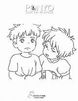 Ponyo Sosuke Falaise Hicoloringpages Miyazaki Coloringhome Nouveaux Populaires Supplémentaire Génial 지브리 Colorier Hellokids Imprimé Fois sketch template