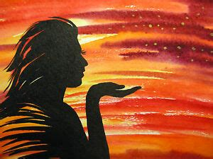 young woman girl silhouette face colorful sunset evening