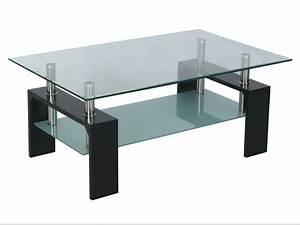 Table Basse Verre Trempé : table basse rectangulaire lev mdf verre tremp noire 50182 ~ Teatrodelosmanantiales.com Idées de Décoration