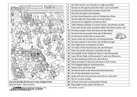 Der Garten Unterrichtsmaterial by Arbeit Im Garten S 228 Tze Zuordnen Grundschule Deutsche