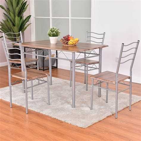 metal kitchen furniture 5 dining set wood metal table and 4 chairs kitchen