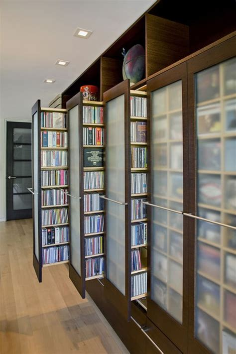 Pull Out Bookcase by Unique Stylish Dvd Storage Ideas