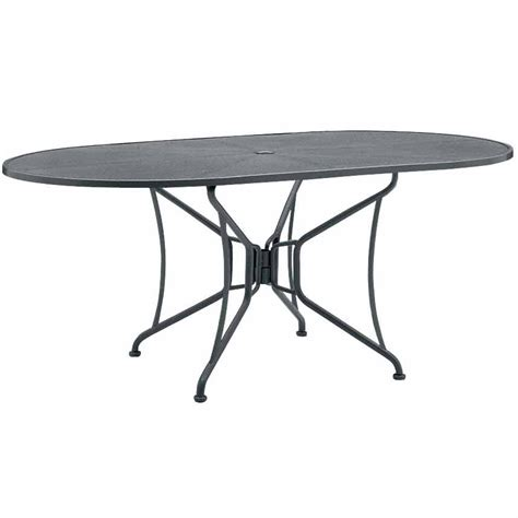 outdoor dining table with umbrella hole pictured is the 42 quot x 72 quot mesh top oval dining table with