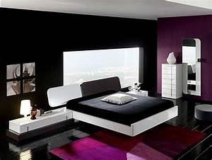 Black, White, And, Purple, Bedroom, Designs