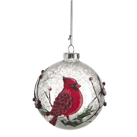 cardinal glass ornaments round