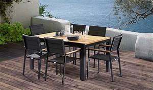 Salon Aluminium De Jardin : salon de jardin en teck et aluminium noir 6 fauteuils ~ Dailycaller-alerts.com Idées de Décoration