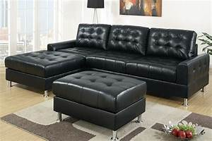Black leather chaise sofa sofa table or leather reclining for Buchannan faux leather sectional sofa with reversible chaise