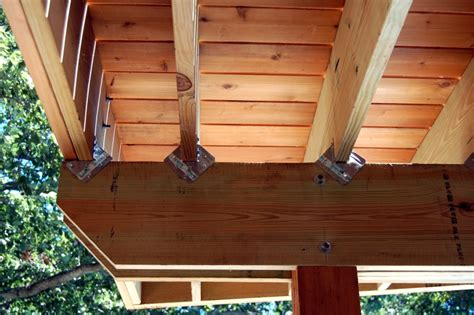deck joist hangers hardware pin bolted and glulam trusses on