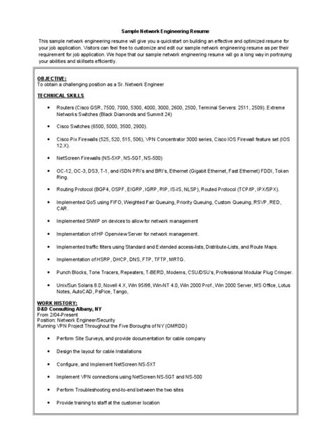 network engineer resume best sle 007 doc docshare tips