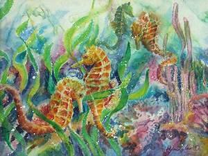 Seahorses Three Painting by Deborah Younglao