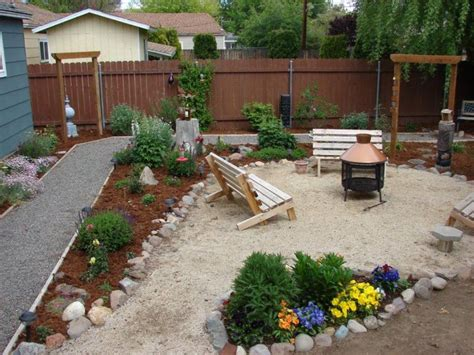 backyard gravel landscaping modish fire pit for inexpensive small backyard ideas with stylish dark finished wooden fences