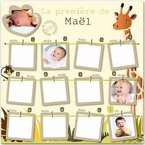 Pele Mele Bebe : cadre 12 mois safari avec photo naissance pour la maison ~ Teatrodelosmanantiales.com Idées de Décoration
