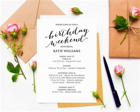 birthday weekend itinerary birthday weekend invitations