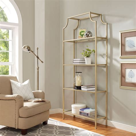 Etagere Glass by Crosley Furniture Aimee Gold Glass Etagere Cf6101 Gl