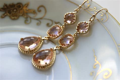 Wedding Jewelry Gold : Champagne Blush Earrings Gold Three Tier Peach Blush