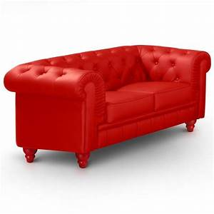 canape 2 places chesterfield rouge pas cher british deco With canapé 2 places style anglais