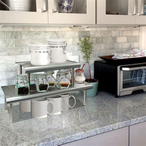 kitchen countertop storage ideas marimac 2 tier kitchen counter shelf in satin silver 4312