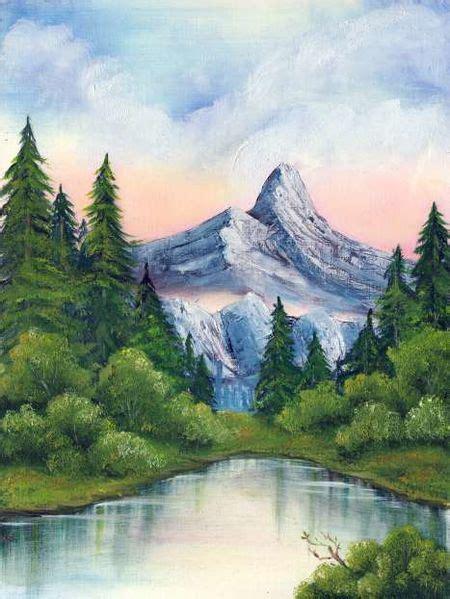 gebirgssee oelmalerei  berge malerei von kerstin