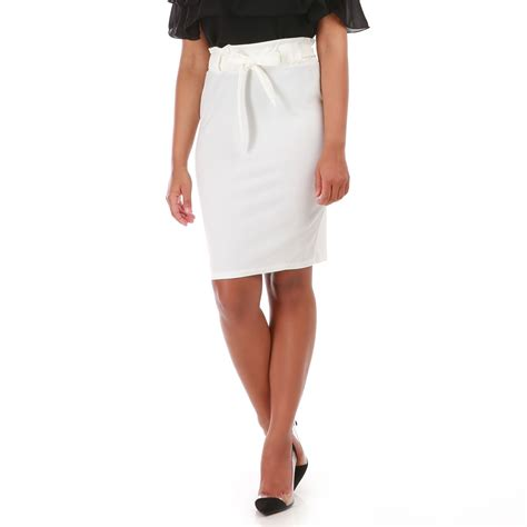 jupe patineuse blanche jupe blanche taille haute avec ceinture 224 nouer femme pas