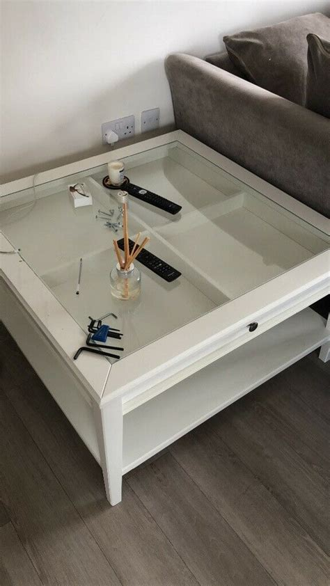 The table top in tempered glass is stain resistant and easy to clean. IKEA white / glass coffee table   in North London, London   Gumtree