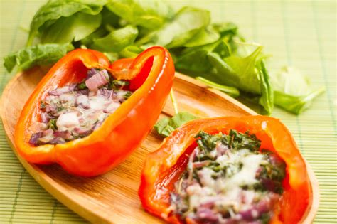 how to make stuffed peppers how to make baked red peppers stuffed with spinach shallots and fresh sage