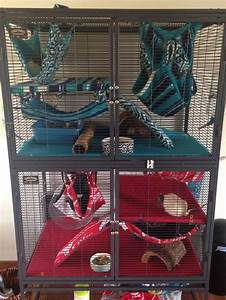 Cool Critter Nation cage setup. I love the fleece patterns ...