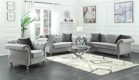 glamorous silver velvet crystal tufted sofa love seat