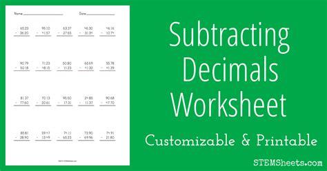 subtracting decimals worksheet stem sheets