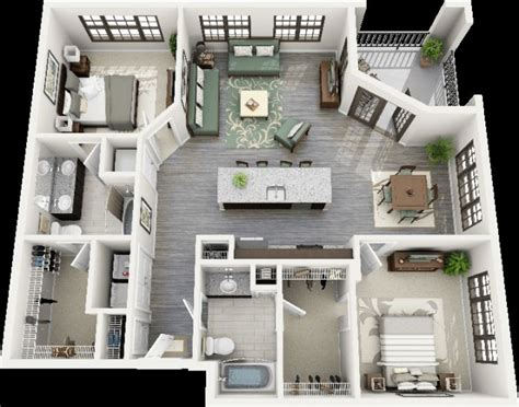 chambre an馗ho ue idee plan3d appartement 2chambres 45