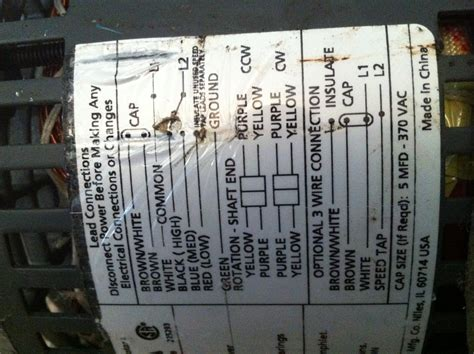 Wire Dayton Blower Motor Out Unit For