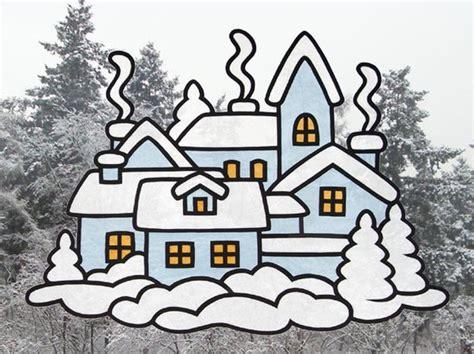 fensterbild transparentpapier winter fensterbild quot winterstadt quot bastelvorlagen mit anleitung