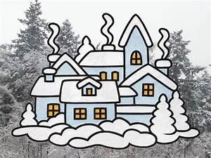 Basteln Winter Vorlagen : fensterbild winterstadt bastelvorlagen mit anleitung ~ Watch28wear.com Haus und Dekorationen