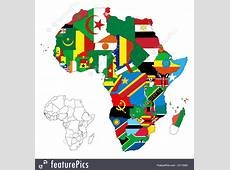 Illustration Of Africa Continent Flag Map
