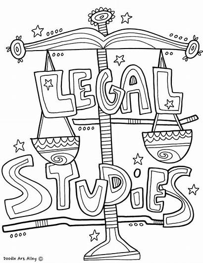 Coloring Studies Pages Legal Subject Doodles Classroom