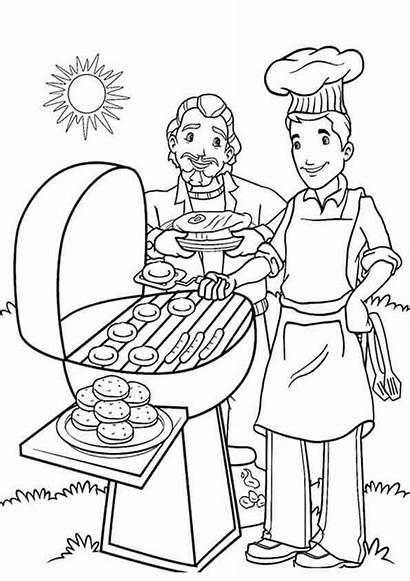 Coloring Summer Pages Printable Barbecue Colouring Cookout