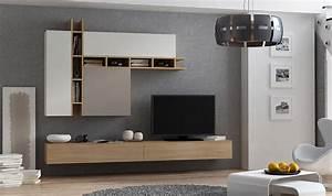 Meuble Tv Au Mur : ensemble mural meuble tv avec rangements ch ne taupe et gris ~ Teatrodelosmanantiales.com Idées de Décoration