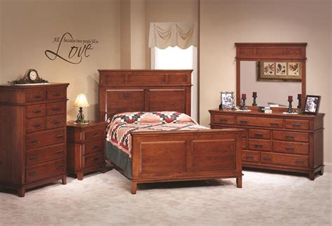 Cherry Wood Bedroom Set by Shaker Style Cherry Wood Five Bedroom Set Amish