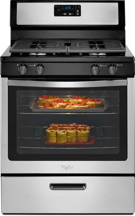 whirlpool wfgmbs   freestanding gas range   cu ft conventional oven  sealed