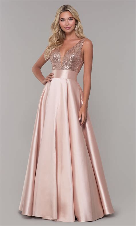 Designer Long Prom Dress with Sequin Bodice - PromGirl