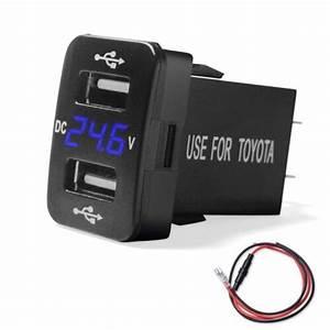 2 1a Dual Usb Charger  Voltmeter Voltage Blue Led Digital