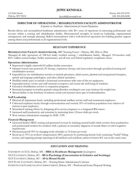 Hospital Administrator Resume Objective by Resume Sles Healthcare 2016 Experience Resumes
